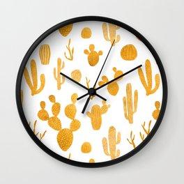 Golden cactus collection Wall Clock