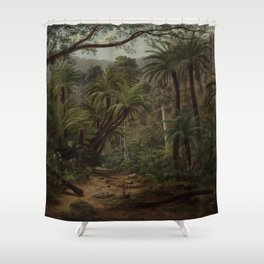 Ferntree Gully in the Dandenong Ranges by Eu von Guerard Date 1857  Romanticism  Landscape Shower Curtain