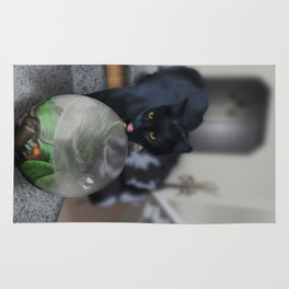 Black Kitty Cat with Fish in Fishbowl Rug