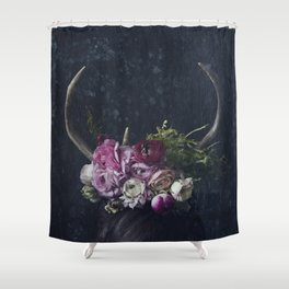 Antlers + Flowers Shower Curtain
