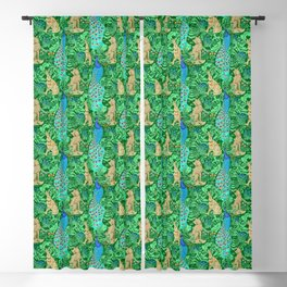 Art Nouveau Peacock Print, Cobalt Blue and Emerald Green Blackout Curtain
