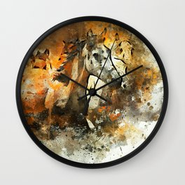 Watercolor Galloping Horses On Raw Canvas | Splatter Painting Wall Clock