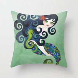 Aquamarine Mermaid Throw Pillow