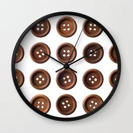 Set of dark brown wooden buttons Wall Clock