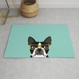 Darby - Boston Terrier pet design with hipster glasses in bold and modern colors for pet lovers Rug