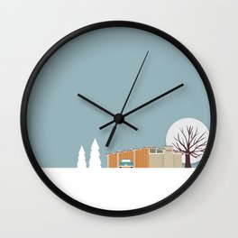 Retro series - Mid Century house in winter Wall Clock
