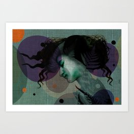 """The Girl and the Moon Burlap Texture"" Art Print"