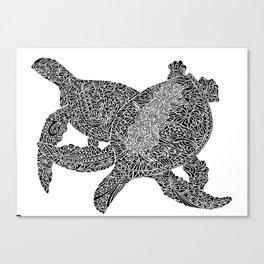 Two Hawaiian Honu, Sea Turtles Canvas Print