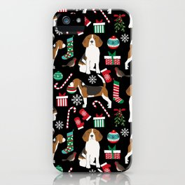 Beagle christmas gift wrap pillow phone case cute beagle dog design iPhone Case
