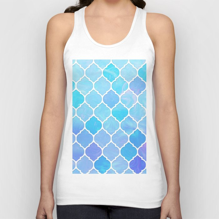 Blue and purple glass Moroccan print Unisex Tank Top
