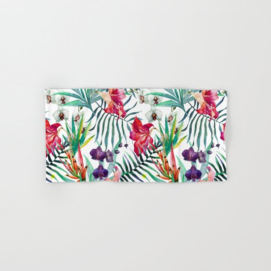 Tropical Watercolor Floral Hand & Bath Towel