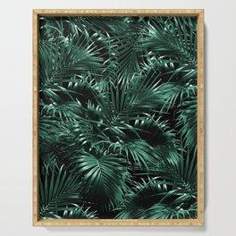 Tropical Palm Leaf Jungle Night #1 #tropical #decor #art #society6 Serving Tray