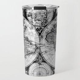 Vintage Map of The World (1685) Black & White Travel Mug