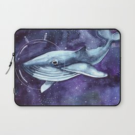 watercolor illustration of a whale in a spacesuit in space Laptop Sleeve