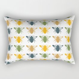 Honey Bees in yellow, gold and navy Rectangular Pillow
