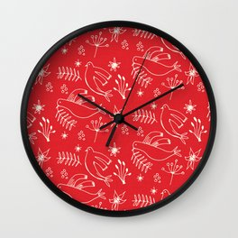 Christmas Dove Red Wall Clock