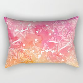 Modern summer pink orange sunset watercolor floral hand drawn illustration Rectangular Pillow