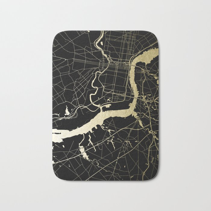 Philadelphia - Black and Gold Bath Mat