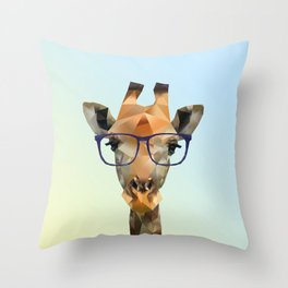 Low Poly Hipster Giraffe Throw Pillow