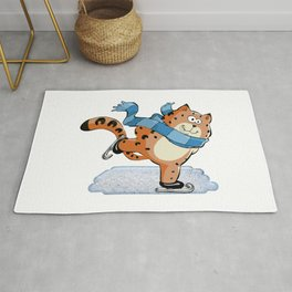 Spotted Ginger Cat with Scarf Ice Skating on Pond Rug