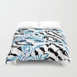 Turquoise Blue Sharp Angular Shapes on Monochrome Texture Duvet Cover
