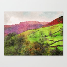 Green Grasmere Hillside, Ambleside, Lake District UK Canvas Print