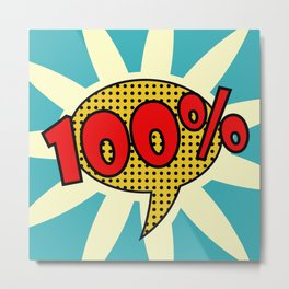 pop art text one hundred percent for your design. Colorful vector. Metal Print