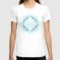 grey T-shirts featuring Teal and Aqua Lace Mandala on Grey by micklyn