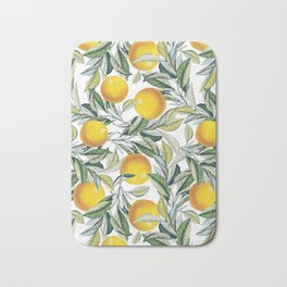 Lemon and Leaf Pattern VI Bath Mat