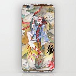 Nine tailed fox kitsune spirit in a form of human kimono girl iPhone Skin