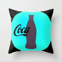 coca cola Throw Pillows featuring Coca cola by Mary Stephenson