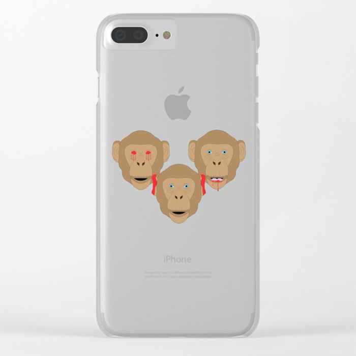 Three Wise Monkeys Clear iPhone Case