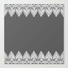 White Vintage Lace Gray Background Canvas Print