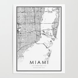 Miami City Map United States White and Black Poster