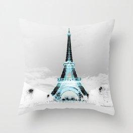 Paris Black & White + Blue Throw Pillow