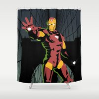 ironman Shower Curtains featuring ironman  by mark ashkenazi
