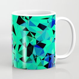 geometric triangle pattern abstract in green blue black Coffee Mug