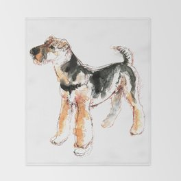Airedale Terrier Watercolor #2 Throw Blanket