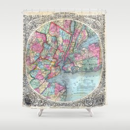 VINTAGE NEW YORK CITY MAP 1879 Shower Curtain