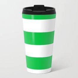 Horizontal Stripes - White and Dark Pastel Green Travel Mug