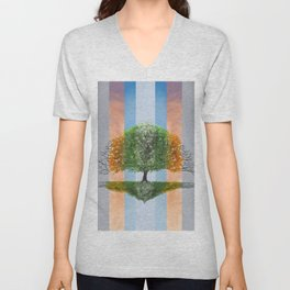 Digital painting of the seasons of the year in a tree Unisex V-Neck