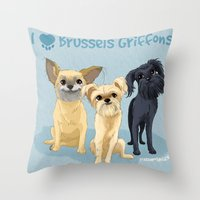 brussels Throw Pillows featuring Brussels Griffon by Bark Point Studio