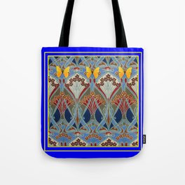 Ornate blue & Yellow Art Nouveau Butterfly Red Designs Tote Bag