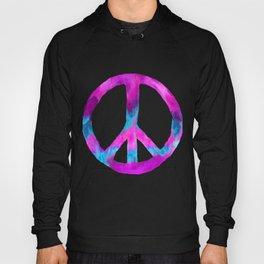 Purple Turquoise Watercolor Tie Dye Peace Sign on Purple Hoody