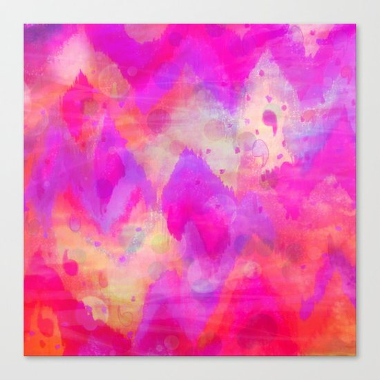 BOLD QUOTATION, Revisited - Intense Raspberry Peachy Pink Vibrant Abstract Watercolor Ikat Pattern Canvas Print
