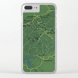 The Great Smoky Mountains National Park Map (1971) Clear iPhone Case