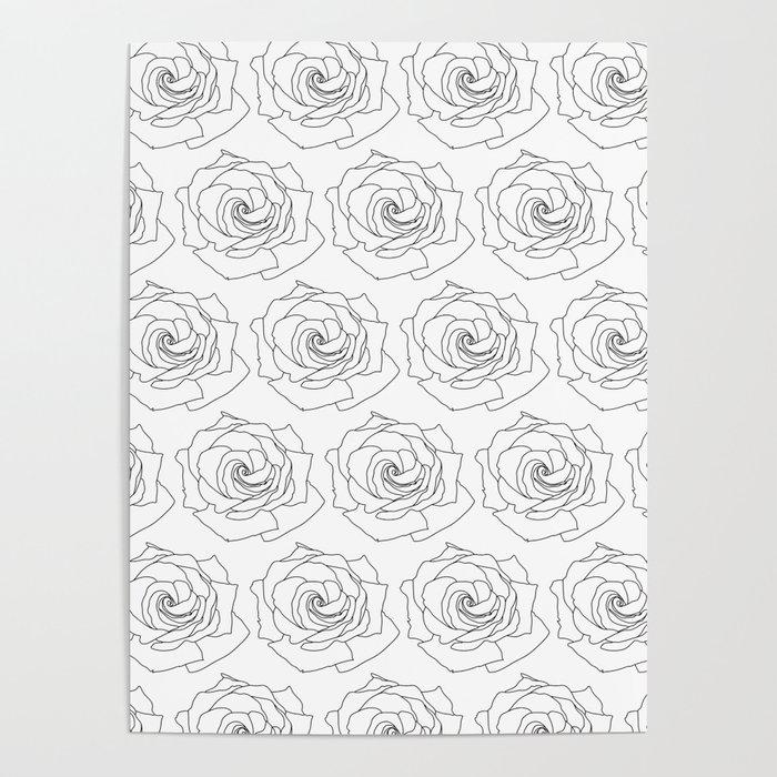 Minimal Line Rose Pattern Wallpaper Background Black And White Poster By Artprintsbycourtney