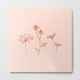 Wildflower Line Art Metal Print