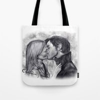 captain swan Tote Bags featuring Captain Swan by Big Beautiful Blue Eyes