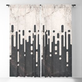Marble and Geometric Diamond Drips, in Charcoal Grey and Light Beige Blackout Curtain